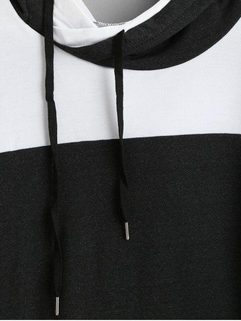 Bolsillo delantero de rayas con capucha con cordón - Negro S Mobile