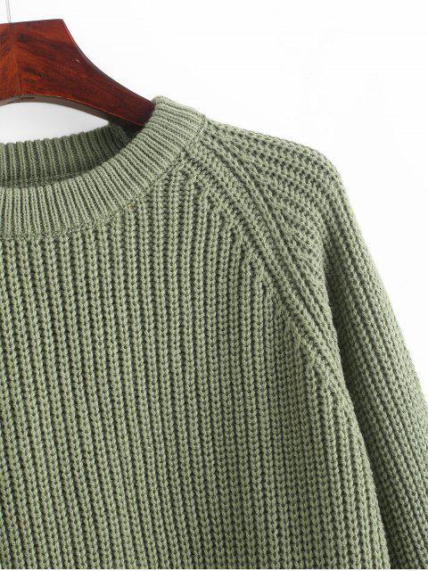 ladies ZAFUL Raglan Sleeve Crop Jumper Sweater - SEA GREEN M Mobile