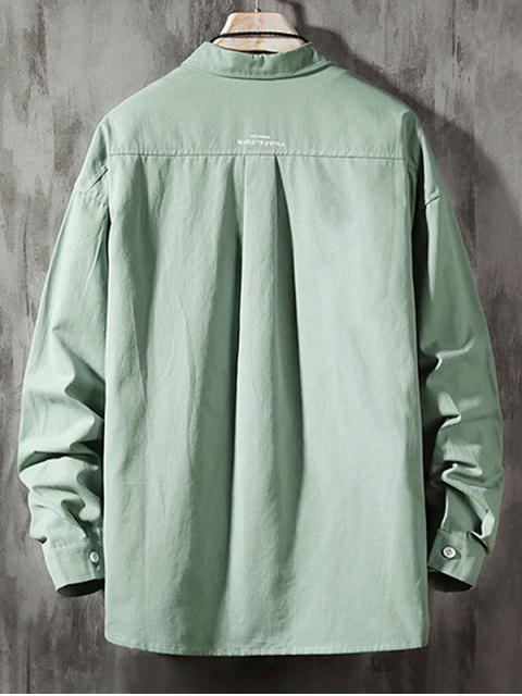 women's Solid Color Chest Pocket Letter Print Button Basic Shirt - DARK TURQUOISE 2XL Mobile