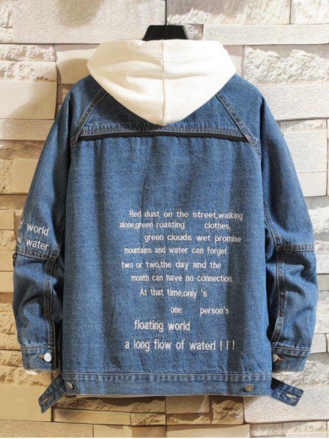 Veste Lettre Brodée à Manches Raglan en Jean avec Poche à Rabat - Bleu Foncé Toile de Jean S Mobile
