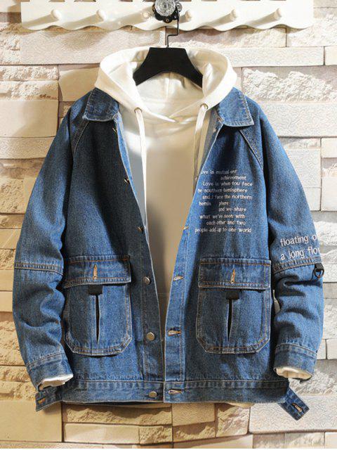 affordable Letter Embroidery Flap Pocket Raglan Sleeve Jean Jacket - DENIM DARK BLUE M Mobile