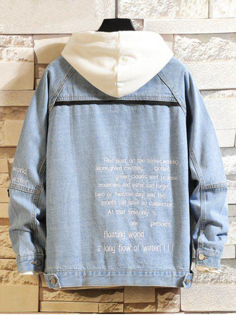 ladies Letter Embroidery Flap Pocket Raglan Sleeve Jean Jacket - LIGHT BLUE XS Mobile