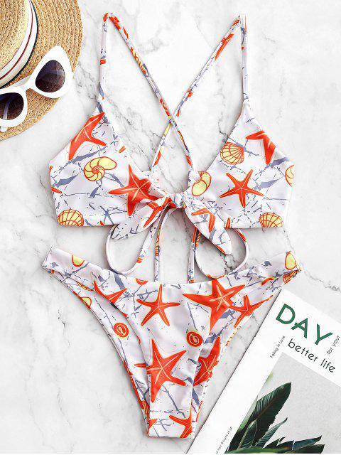 ZAFUL Maillot de Bain Bikini Croisé Noué Coquille Etoile de Mer - Multi-A M Mobile