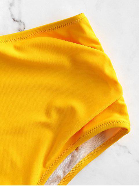 ZAFUL Высокая талия С оборкой Бикини Трусы - Ярко-желтый M Mobile