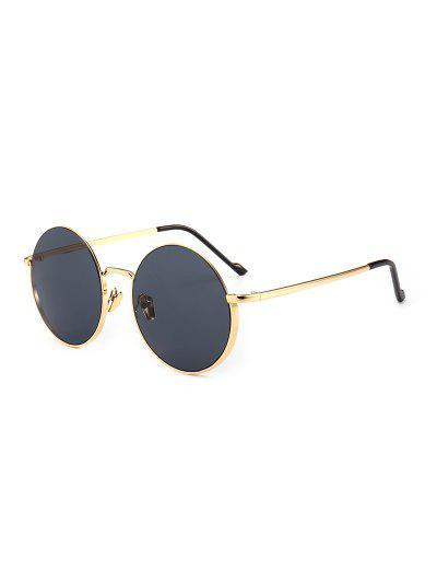 Runde Altmodische Metall -Anti -UV -Sonnenbrille - Schwarz