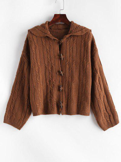 Image of Cable Knit Horn Button Cardigan