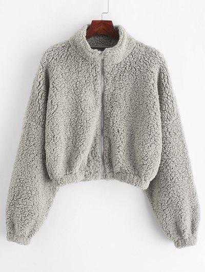 ZAFUL Drop Shoulder Zip Up Teddy Coat - Gray Cloud M