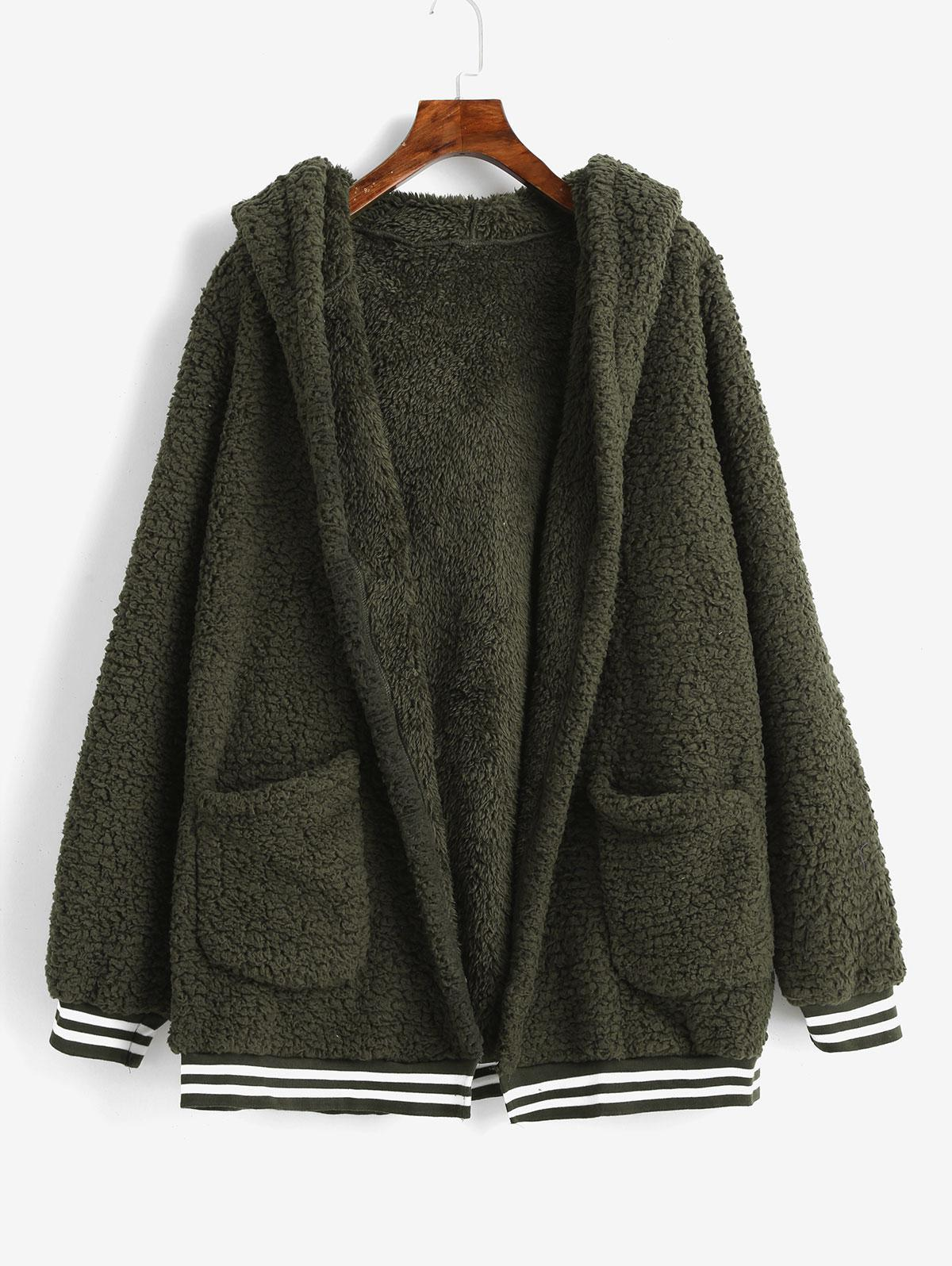Striped Hem Pockets Hooded Faux Fur Coat, Army green