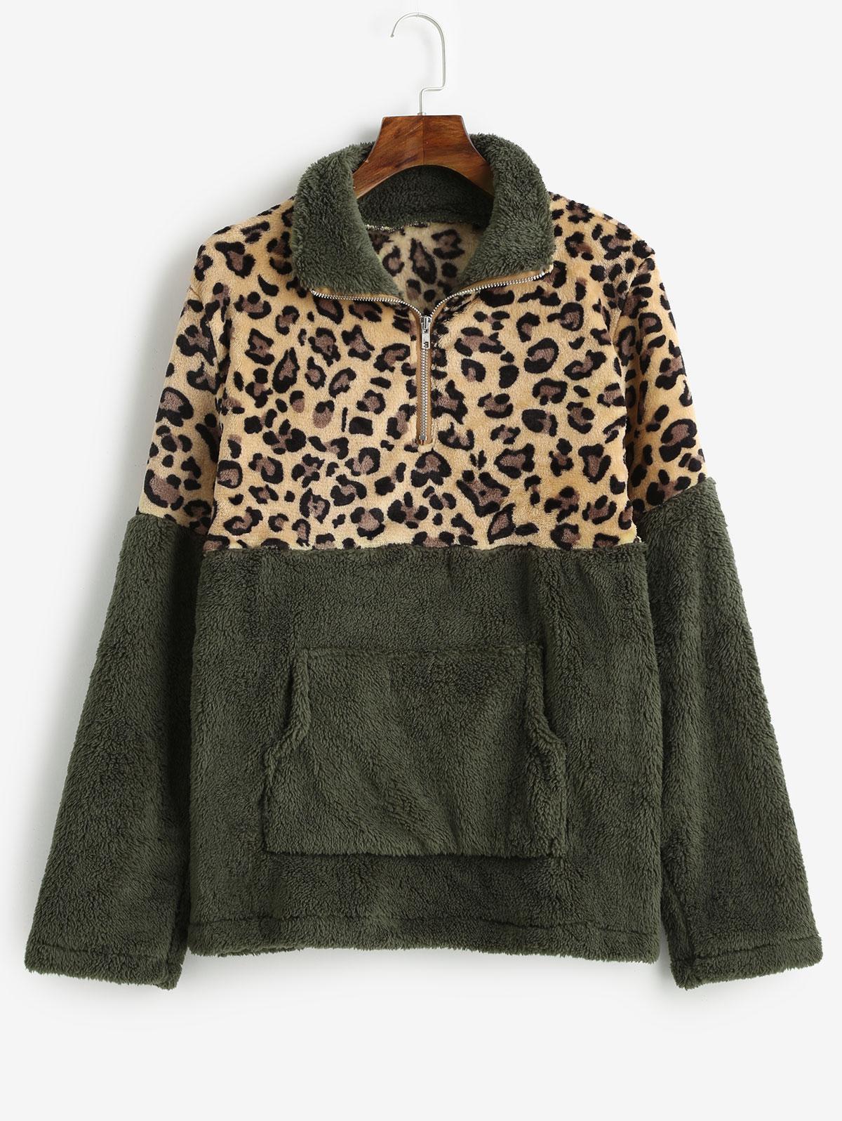 Leopard Print Kangaroo Pocket Faux Fur Sweatshirt