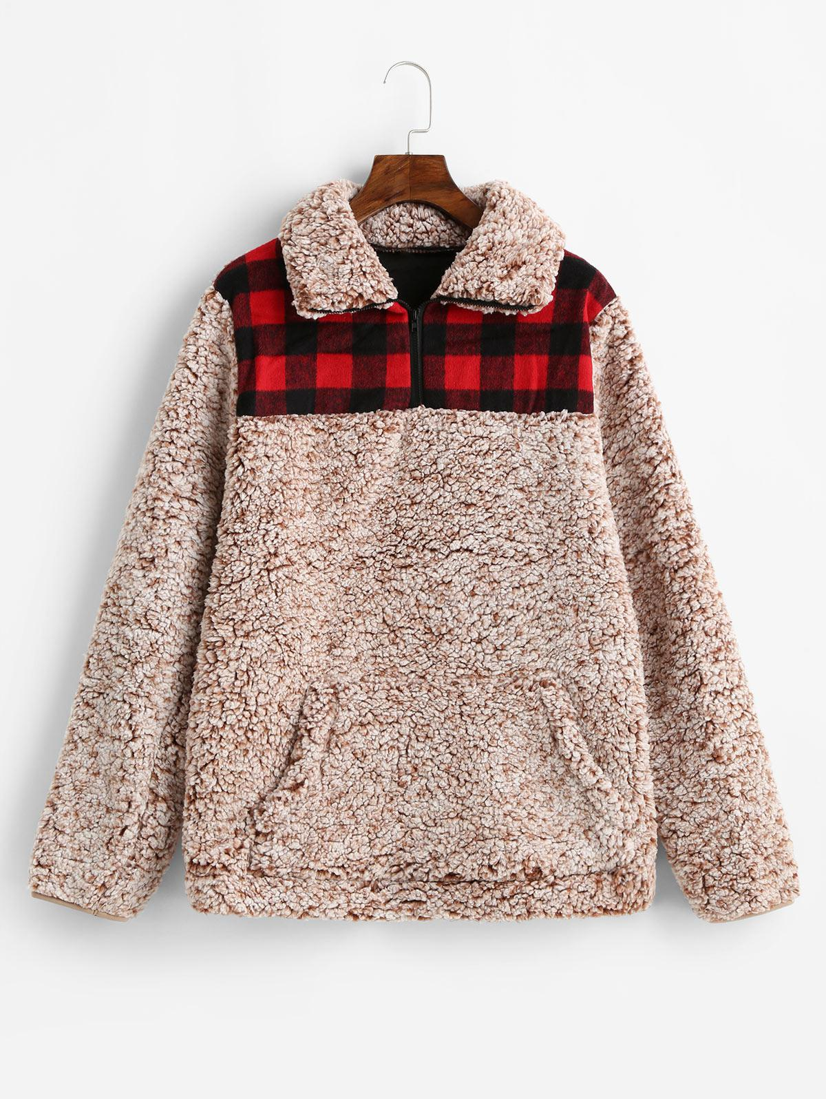 Plaid Front Pocket Zip Front Faux Fur Sweatshirt