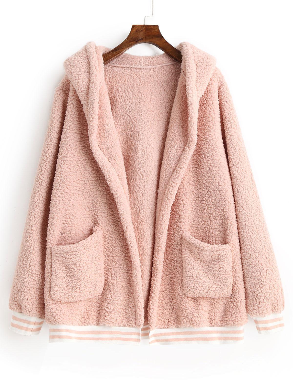 Striped Hem Pockets Hooded Faux Fur Coat thumbnail