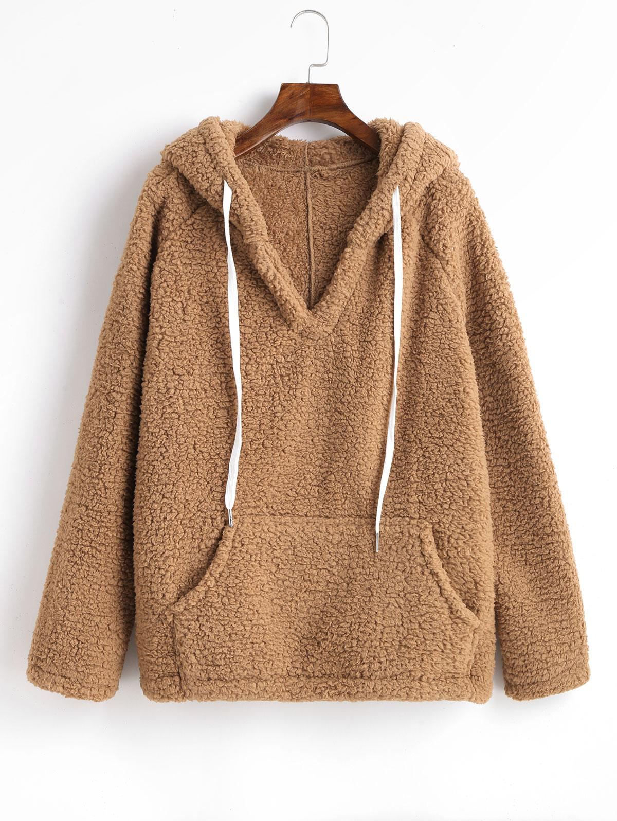 Solid Color Drawstring Fluffy Hoodie with Pockets