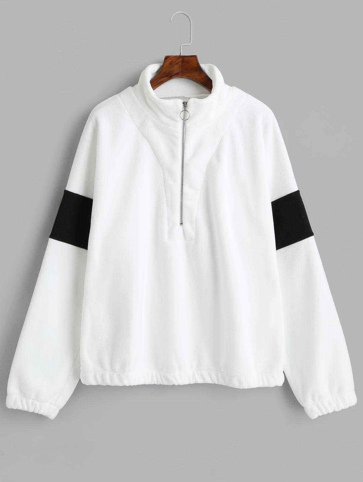 Half Zip Two Tone Loose Sweatshirt