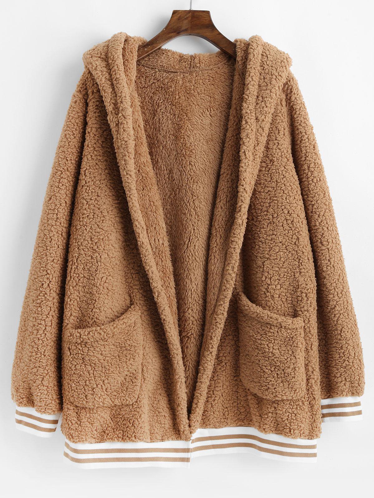 Striped Hem Pockets Hooded Faux Fur Coat