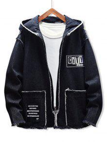 Applique Letter Fringe trim Hooded Jacket