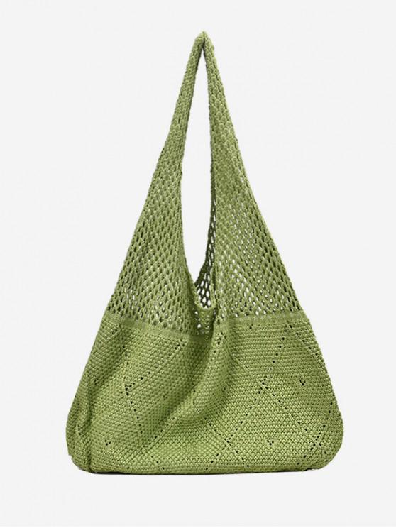 women's Open Knit Retro Shoulder Bag - YELLOW GREEN