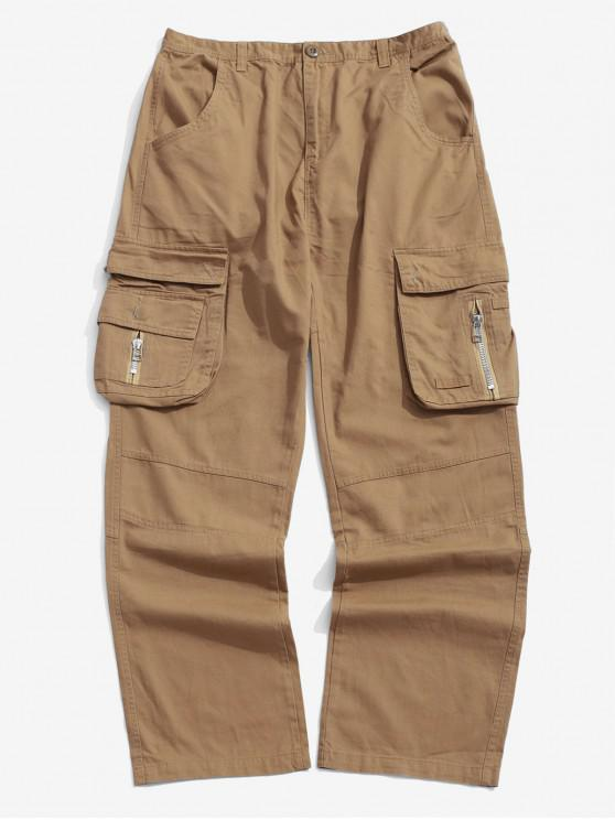 Pantalones de carga largos rectos de bolsillo con solapa de color sólido - Tan 42
