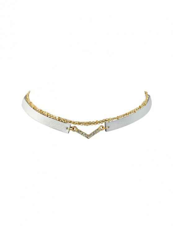 chic Rhinestone Decoration Layered Necklace - SILVER