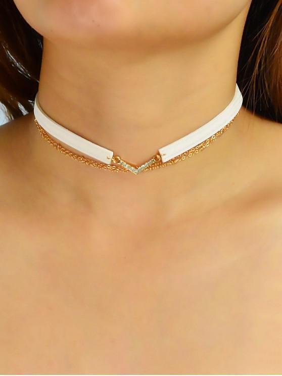 buy Rhinestone Decoration Layered Necklace - WHITE