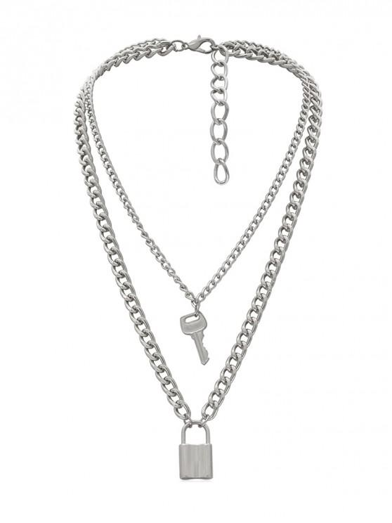 hot Lock Key Decoration Chain Necklace - SILVER