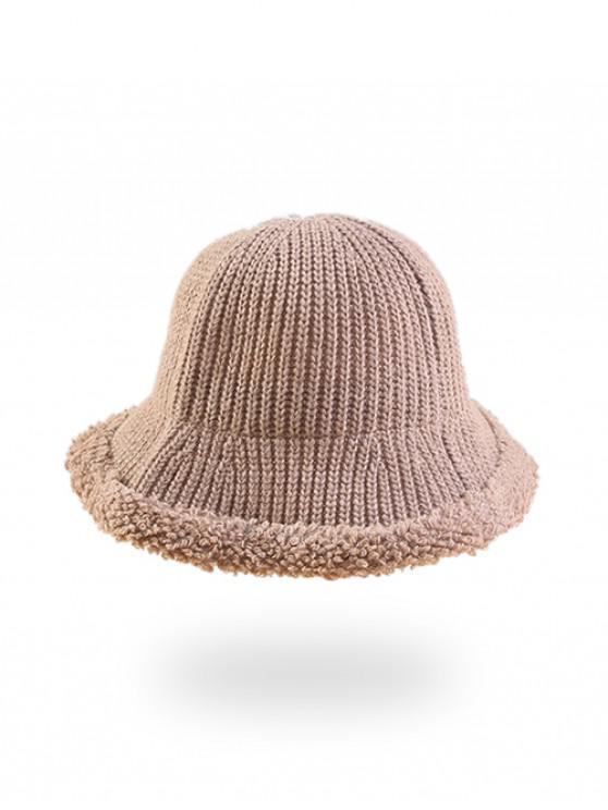 fashion Knitted Folding Rough Edge Bucket Hat - BEIGE