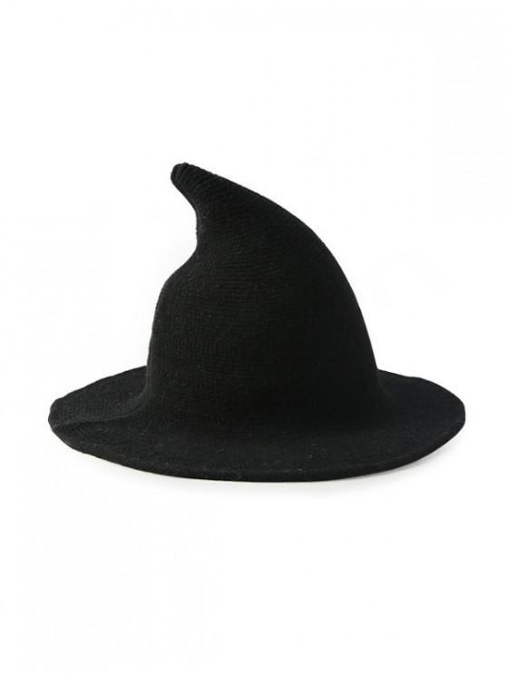 fancy Artificial Woolen Plain Witch Hat - BLACK