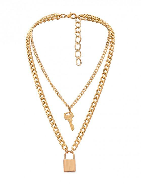 sale Lock Key Decoration Chain Necklace - GOLD