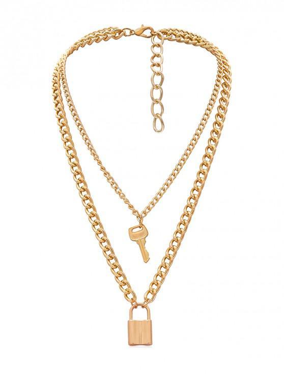 鎖鑰匙裝飾鏈項鍊 - 金