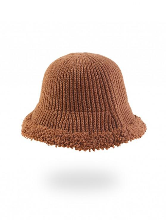 women's Knitted Folding Rough Edge Bucket Hat - CARAMEL