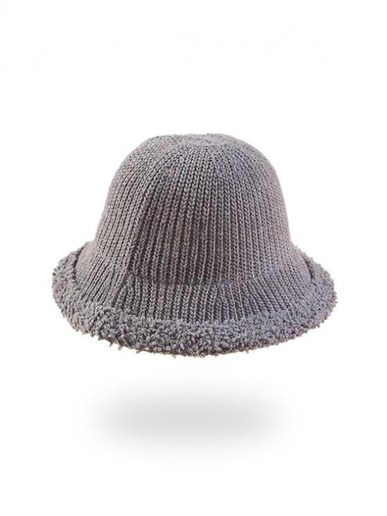 ladies Knitted Folding Rough Edge Bucket Hat - LIGHT GRAY