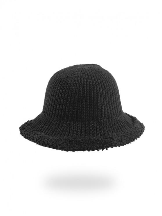 hot Knitted Folding Rough Edge Bucket Hat - DARK GRAY