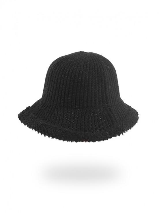 latest Knitted Folding Rough Edge Bucket Hat - BLACK