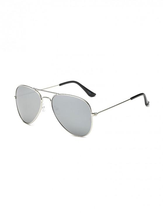 trendy Anti UV Mirrored Pilot Sunglasses - PLATINUM