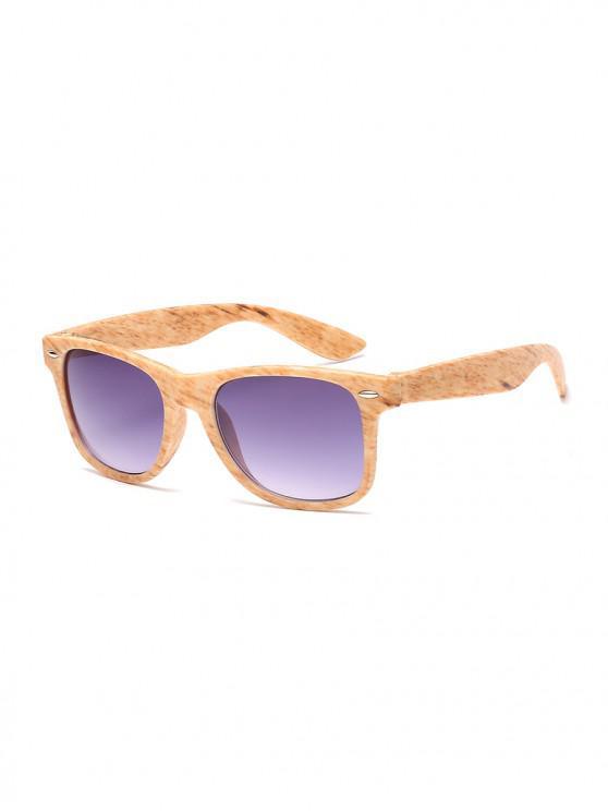 chic Wood Grain Pattern Rectangle Sunglasses - YELLOW