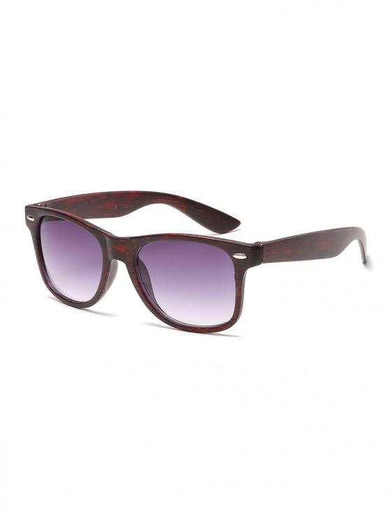 affordable Wood Grain Pattern Rectangle Sunglasses - RED