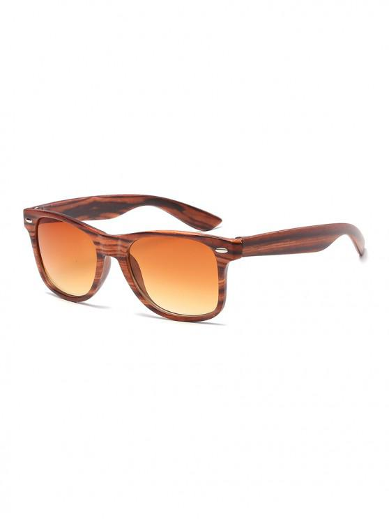 buy Wood Grain Pattern Rectangle Sunglasses - BROWN
