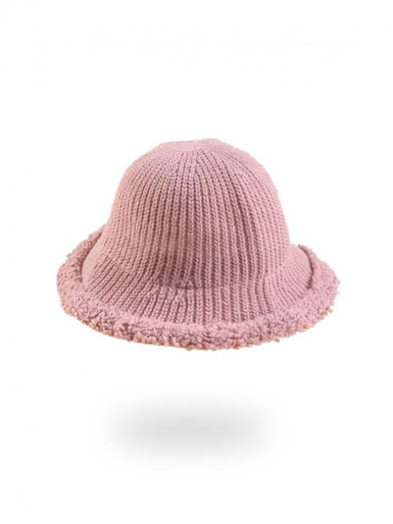 women Knitted Folding Rough Edge Bucket Hat - PINK