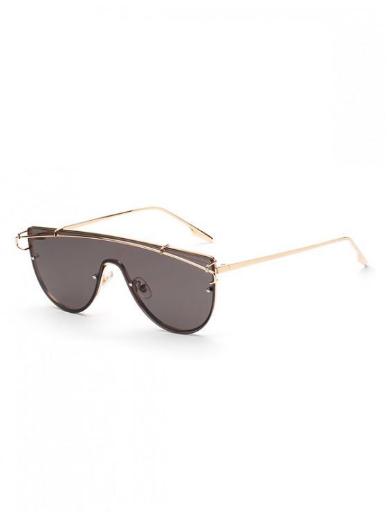 lady Stylish One-piece Oversize Metal Frame Sunglasses - BLACK