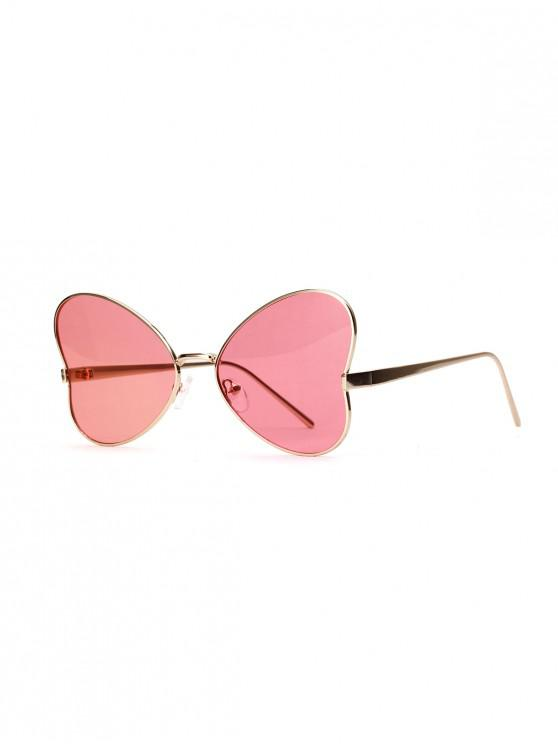 online Transparent Butterfly-shaped Heart Retro Sunglasses - PIG PINK