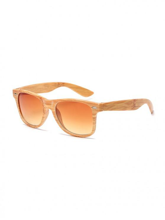 new Wood Grain Pattern Rectangle Sunglasses - SANDY BROWN