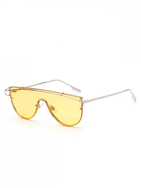 latest Stylish One-piece Oversize Metal Frame Sunglasses - GOLDENROD