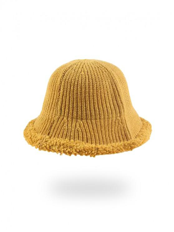 trendy Knitted Folding Rough Edge Bucket Hat - YELLOW