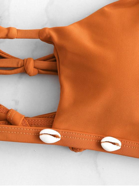 De Col Sable À Ensemble HalterBrun S Bikini Zaful Découpé Coquille T3Fu1lKJc