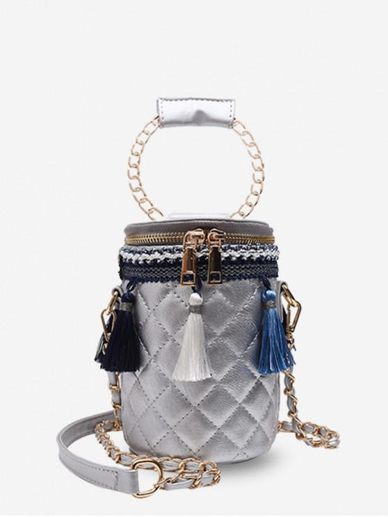 unique Tassel Accent Quilted Cylinder Bag - GRAY