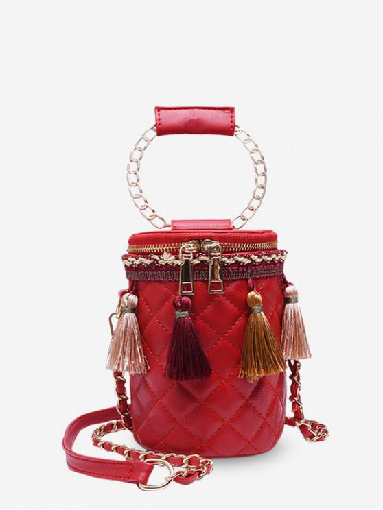 women Tassel Accent Quilted Cylinder Bag - RED