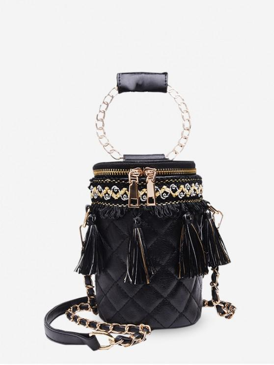 outfit Tassel Accent Quilted Cylinder Bag - BLACK