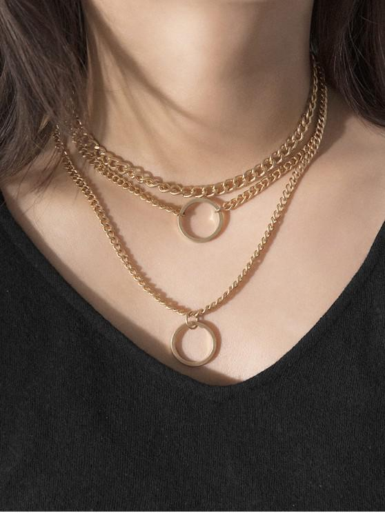 chic Round Ring Design Chain Necklace - GOLD