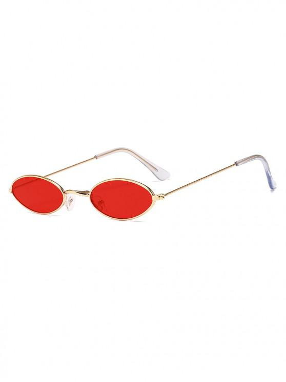 fancy Vintage Small Metal Oval Sunglasses - RED