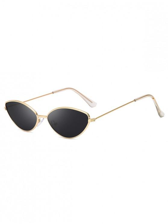fancy Metal Small Catty Eye Sunglasses - BLACK