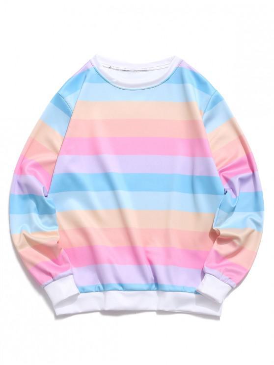 unique Color Block Splicing Striped Casual Sweatshirt - PIG PINK M